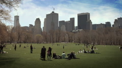 People relaxing and playing in the lawn of Central Park. New York. Stock Footage