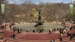 People walking around Bethesda Fountain in Central Park.  New York, USA.  - stock footage