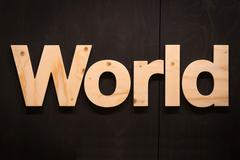 world in wood type - stock photo