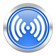 Wifi icon, blue button, wireless network sign. Stock Illustration