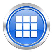 Thumbnails grid icon, blue button, gallery sign. Stock Illustration