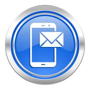 mail icon, blue button, post sign. - stock illustration