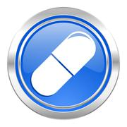 Drugs icon, blue button, medical sign. Stock Illustration