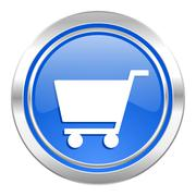 Cart icon, blue button, shop sign. Stock Illustration