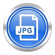 Jpg file icon, blue button. Stock Illustration