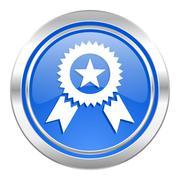 Award icon, blue button, prize sign. Piirros