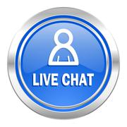 Live chat icon, blue button. Stock Illustration