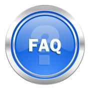 Stock Illustration of faq icon, blue button.