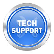 Technical support icon, blue button. Stock Illustration