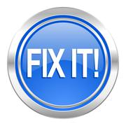 Stock Illustration of fix it icon, blue button.