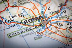 roma on a road map - stock photo