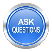 ask questions icon, blue button. - stock illustration