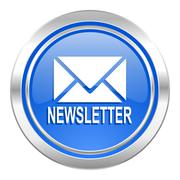 Newsletter icon, blue button. Stock Illustration