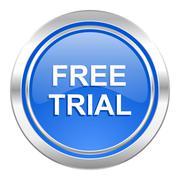 free trial icon, blue button. - stock illustration