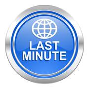 Stock Illustration of last minute icon, blue button.
