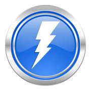 bolt icon, blue button, flash sign. - stock illustration
