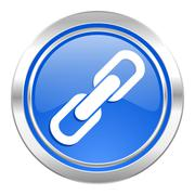 Link icon, blue button, chain sign. Stock Illustration