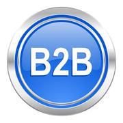 b2b icon, blue button. - stock illustration