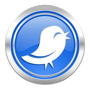 Twitter icon, blue button. Stock Illustration