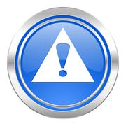 Stock Illustration of exclamation sign icon, blue button, warning sign, alert symbol.