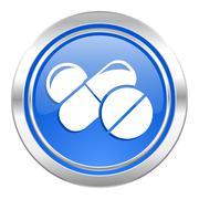 Medicine icon, blue button, drugs symbol, pills sign. Stock Illustration