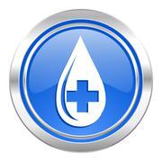 blood icon, blue button. - stock illustration