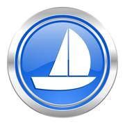 Yacht icon, blue button, sail sign. Stock Illustration