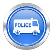 Police icon, blue button. Stock Illustration