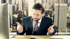 Business man dancing and singing listening music working in office inNew York Stock Footage