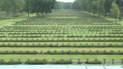 The Lommel German war cemetery (zoom out), Lommel, Belgium. Stock Footage