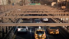 Brooklyn bridge at sunset. New York, USA.  Stock Footage