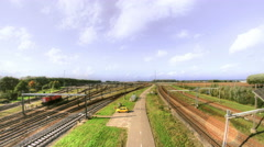 Rails Road and Sky - 4K 30FPS Stock Footage