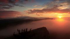 Timelapse sunrise in the mountains Ai-Petri. Alupka, Crimea, Russia - stock footage