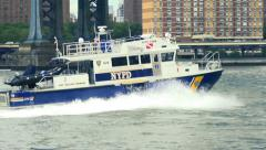NYPD police boat - New York East River - slow motion Stock Footage