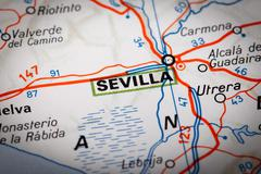 sevilla on a road map - stock photo