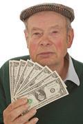 Grandpa with Dollars Stock Photos