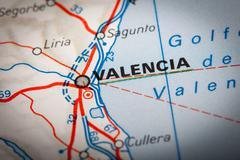 valencia on a road map - stock photo