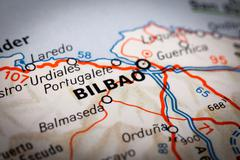 bilbao on a road map - stock photo