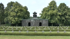 The entrance memorial in the Ysselsteyn German Cemetery,  Limburg, Netherlands. Stock Footage