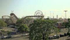 A wide timelapse of Coney Island, daytime. Stock Footage