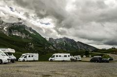 on the road in the pyrenees mountains in France - stock photo