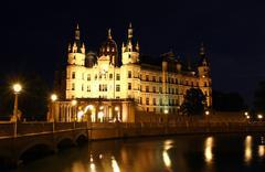 schwerin castle (schweriner schloss) at night, germany - stock photo