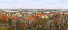 panoramic view of budapest city, hungary (tilt-shift miniature effect) - stock photo