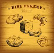 Stock Illustration of Bakery.  label for loaf, baked goods, croissant, cupcake, bagel. background