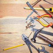 contruction and diy background with tools - stock photo