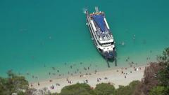 4K Cruise Sailing Egremni Beach Lefkada, Sea Trip People in Boat Ship Traveling Stock Footage