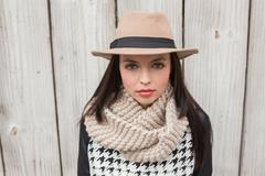 Pretty hipster looking at camera - stock photo