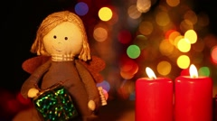 Girl Toy Gift Box and Candles Stock Footage