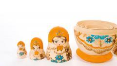 4K Matryoshka souvenir wooden dolls Stock Footage