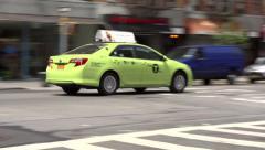 New York Green Boro Taxi Stock Footage
